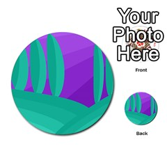 Purple and green landscape Multi-purpose Cards (Round)