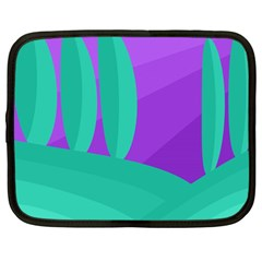 Purple and green landscape Netbook Case (Large)