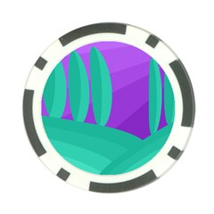 Purple and green landscape Poker Chip Card Guards (10 pack)