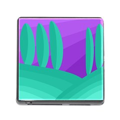 Purple and green landscape Memory Card Reader (Square)