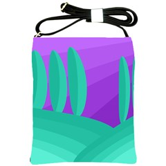 Purple and green landscape Shoulder Sling Bags