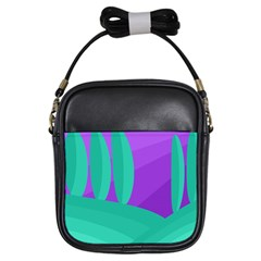 Purple and green landscape Girls Sling Bags
