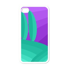 Purple and green landscape Apple iPhone 4 Case (White)