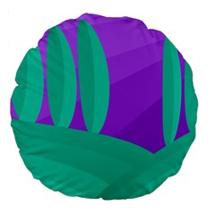 Purple and green landscape Large 18  Premium Round Cushions