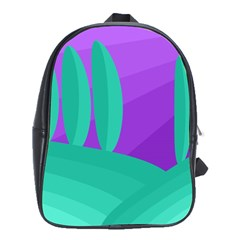 Purple and green landscape School Bags (XL)