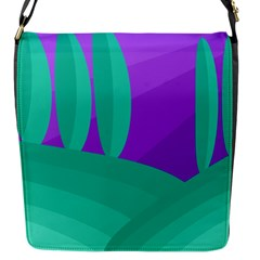 Purple and green landscape Flap Messenger Bag (S)