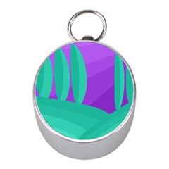 Purple and green landscape Mini Silver Compasses