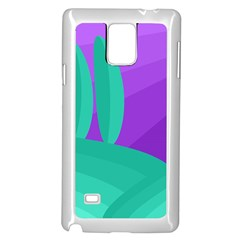Purple and green landscape Samsung Galaxy Note 4 Case (White)