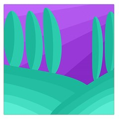Purple and green landscape Large Satin Scarf (Square)