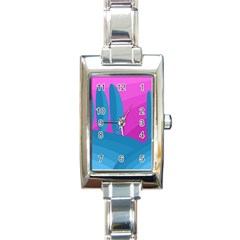 Pink and blue landscape Rectangle Italian Charm Watch