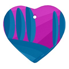 Pink and blue landscape Ornament (Heart)