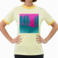 Pink and blue landscape Women s Fitted Ringer T-Shirts