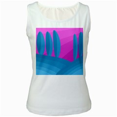 Pink and blue landscape Women s White Tank Top