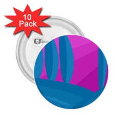 Pink and blue landscape 2.25  Buttons (10 pack)