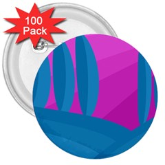 Pink and blue landscape 3  Buttons (100 pack)