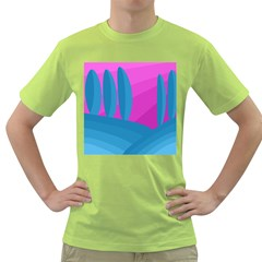 Pink and blue landscape Green T-Shirt