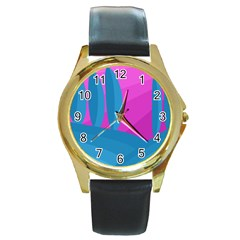 Pink and blue landscape Round Gold Metal Watch