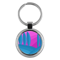 Pink and blue landscape Key Chains (Round)
