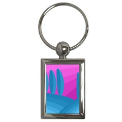 Pink and blue landscape Key Chains (Rectangle)