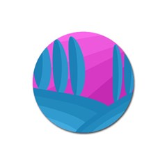 Pink and blue landscape Magnet 3  (Round)