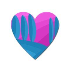 Pink and blue landscape Heart Magnet