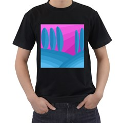 Pink and blue landscape Men s T-Shirt (Black) (Two Sided)
