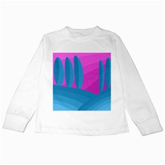 Pink and blue landscape Kids Long Sleeve T-Shirts