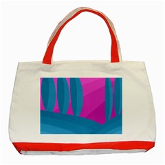Pink and blue landscape Classic Tote Bag (Red)