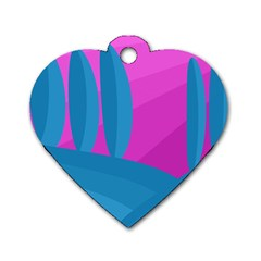 Pink and blue landscape Dog Tag Heart (One Side)