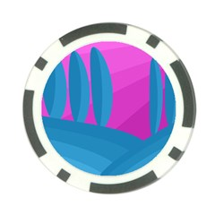 Pink and blue landscape Poker Chip Card Guards