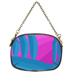 Pink and blue landscape Chain Purses (One Side)