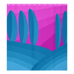 Pink and blue landscape Shower Curtain 66  x 72  (Large)