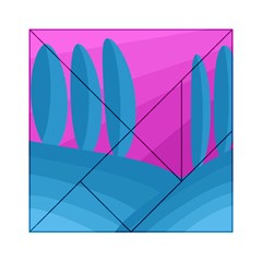 Pink and blue landscape Acrylic Tangram Puzzle (6  x 6 )