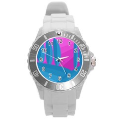Pink and blue landscape Round Plastic Sport Watch (L)