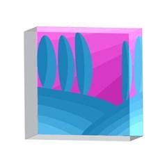 Pink and blue landscape 4 x 4  Acrylic Photo Blocks