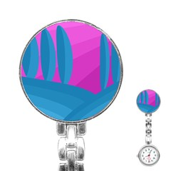 Pink and blue landscape Stainless Steel Nurses Watch
