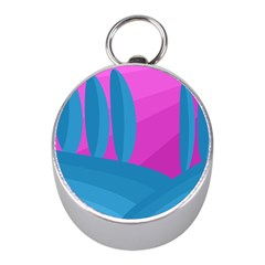 Pink and blue landscape Mini Silver Compasses