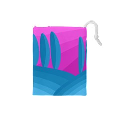 Pink and blue landscape Drawstring Pouches (Small)