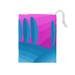Pink and blue landscape Drawstring Pouches (Medium)