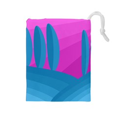 Pink and blue landscape Drawstring Pouches (Large)