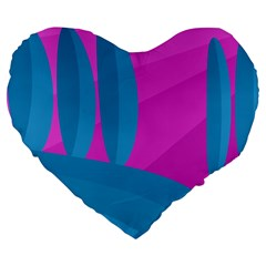 Pink and blue landscape Large 19  Premium Flano Heart Shape Cushions