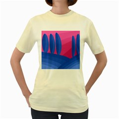Magenta and blue landscape Women s Yellow T-Shirt