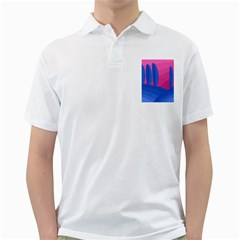 Magenta and blue landscape Golf Shirts