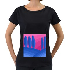 Magenta and blue landscape Women s Loose-Fit T-Shirt (Black)