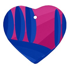 Magenta and blue landscape Heart Ornament (2 Sides)