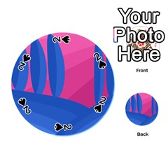 Magenta and blue landscape Playing Cards 54 (Round)