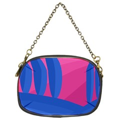 Magenta and blue landscape Chain Purses (Two Sides)