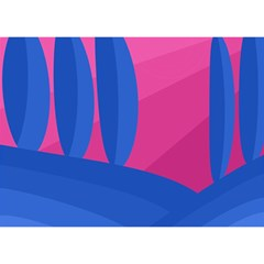Magenta and blue landscape Birthday Cake 3D Greeting Card (7x5)