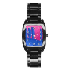 Magenta and blue landscape Stainless Steel Barrel Watch