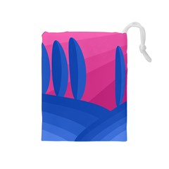 Magenta and blue landscape Drawstring Pouches (Medium)